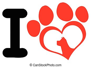 I Love With Red Heart Paw Print With Claws And Dog Head Silhouette Logo Design