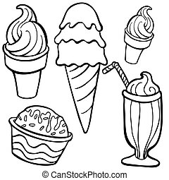 ice cream Food Items line art isolated on a white background.