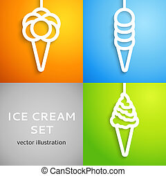 Ice cream icon cut out white paper. Vector illustration for your frozen fresh design. Applique on color background. To decorate confectionery, cafeteria, desert shop and menu, freezer compartment.