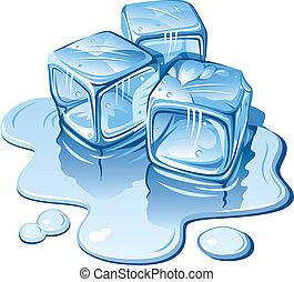 Stylized ice cubes on white background. Vector illustration