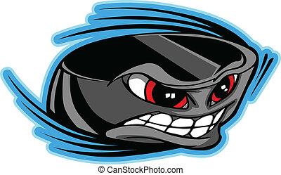 Ice Hockey Puck Face Cartoon Vector