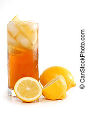 Glass of lemon cold iced tea with lemons on white background