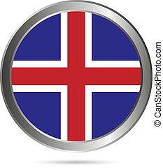 Iceland flag button.