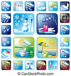 vector set weather and season symbols
