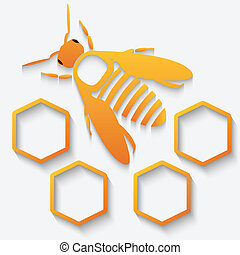 Icon bee and honeycomb