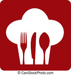 Chef icon. Chef hat silhouette with cutlery inside on red background. Vector available.