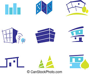 Icon collection for modern houses inspired by nature and simplicity. Vector Illustration.
