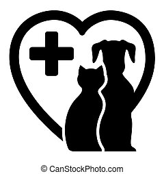 black icon with dog and cat on heart silhouette for veterinary services