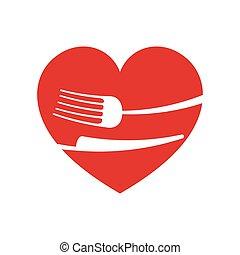 icon fork knife heart kitchen design