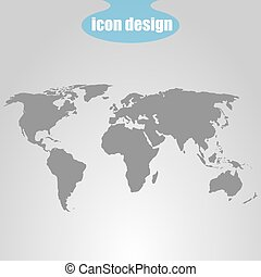 Icon of world map on a gray background. Vector illustration