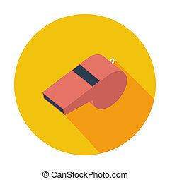 Sports whistle. Single flat color icon. Vector illustration.