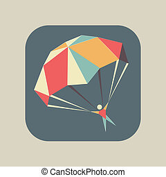 Abstract flat geometric icon with a skydiver flying with an open parachute, symbol of extreme sports, fun or safety
