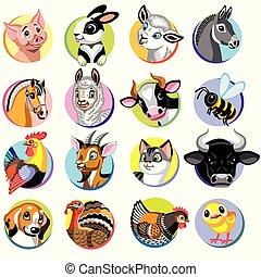 icons of cartoon farm animals