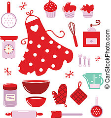 Retro set for baking or cooking. Vector Illustration