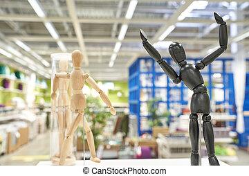 Ikea business figures. Extraordinary team model. Meeting mannikin. Wooden