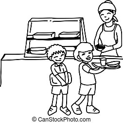illustation vector hand drawn doodle of canteen with two boys holding tray isolated on white background