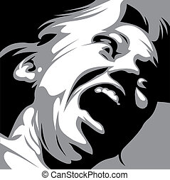 illustrated aggressive woman on the dark background