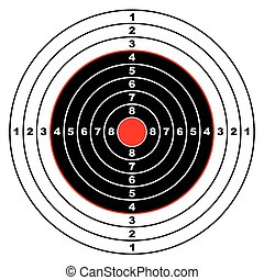 Illustrated rifle target with black sections and points marked on circle