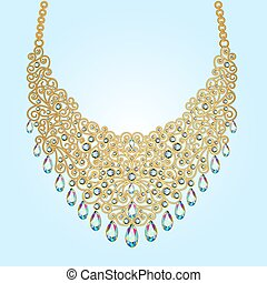 illustration a woman's necklace of beads and gemstones