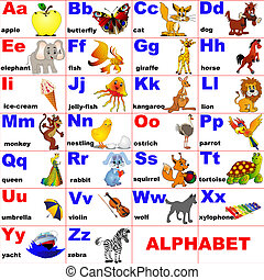 illustration animals placed on letter of the alphabet