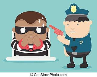 illustration arrest criminal cyber attack