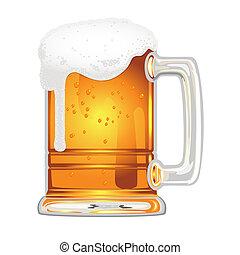 illustration beer with bladder in glass mug on white