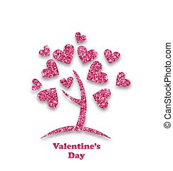 Concept of Tree with Shimmering Heart Leaves for Valentines Day