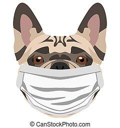 Illustration dog French bulldog with respirator