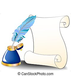 feather roll and inkwell for message
