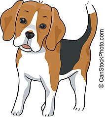 Illustration Featuring a Cute and Curious Beagle