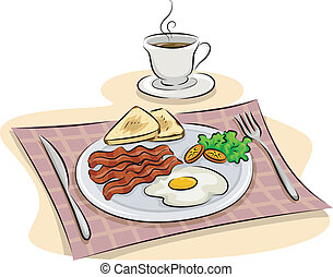 Illustration Featuring a Traditional English Breakfast