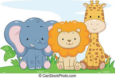 Illustration Featuring Cute Baby Safari Animals
