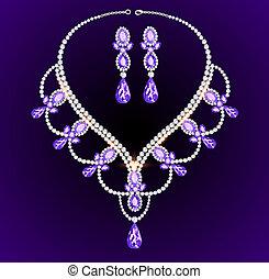 illustration feminine vintage necklace with large precious stones