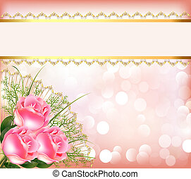 illustration festive background with bouquet of the roses, tape with lace