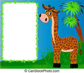 illustration frame nursery nice giraffe on background of the palms