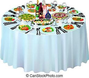 illustration gala buffet served on white