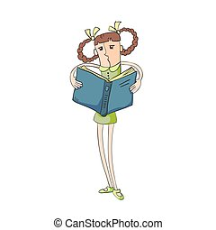 Illustration modern girl with funny hair, reading a book,