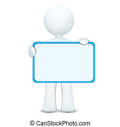illustration of 3d character holding blank board on an isolated white background