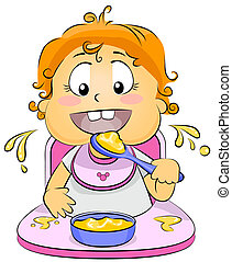 Illustration of a Baby Eating Baby Food