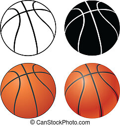 Illustration of a Basketball in four versions ranging from a simple black and white to a complex full color.