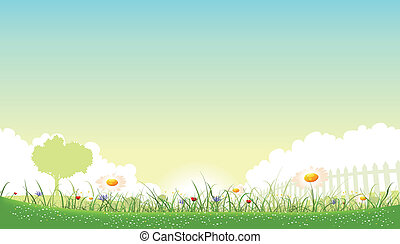 Illustration of a beautiful garden of flowers landscape with daisy, poppies and cornflowers in spring or summer seasons