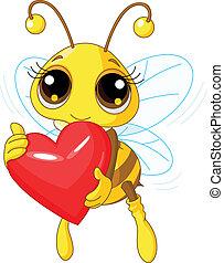 Cute Bee holding Love heart
