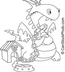 illustration of a dangerous dragon outlined