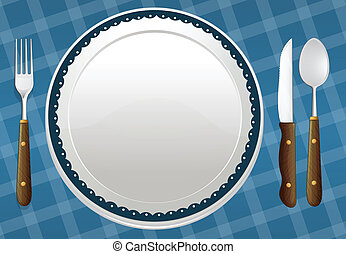 illustration of a dish on a blue background