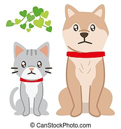 Illustration of a dog and cat staring with sad eyes on a white background
