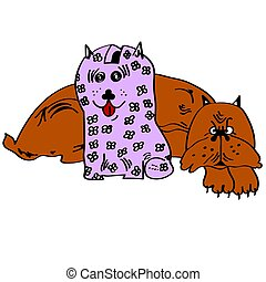 Illustration of a dog with a piggy bank