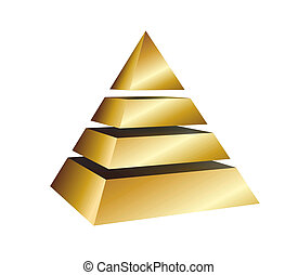illustration of a golden pyramid on white background