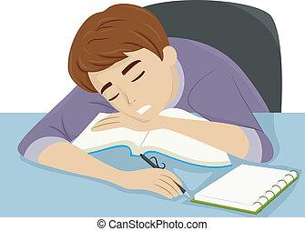 Illustration of a Guy Dozing Off to Sleep While Studying