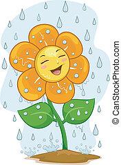 Illustration of a Happy Flower Mascot Under the Rain