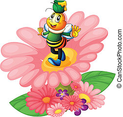 honey bee and flowers